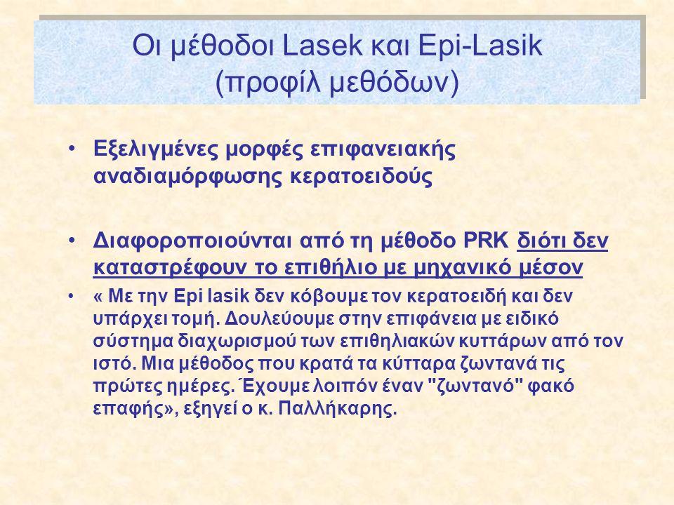 Οι μέθοδοι Lasek και Epi-Lasik (προφίλ μεθόδων)