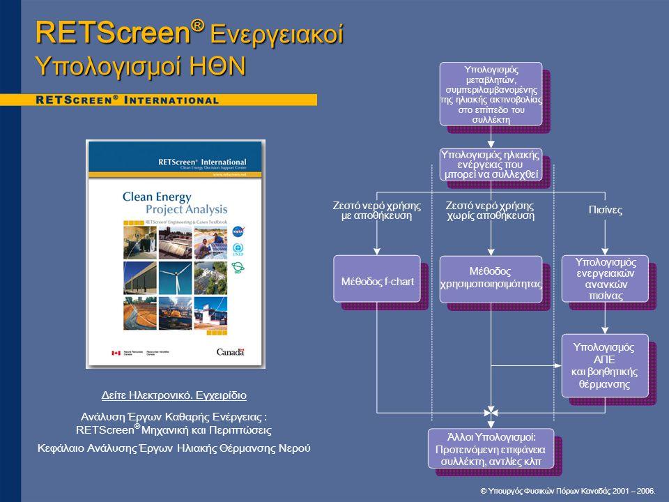 RETScreen® Ενεργειακοί Υπολογισμοί ΗΘΝ
