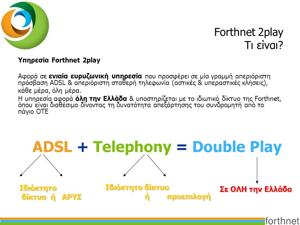 ADSL + Telephony = Double Play
