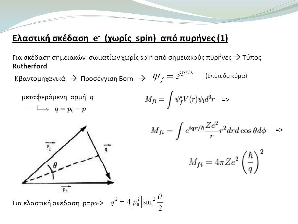 Ελαστική σκέδαση e- (χωρίς spin) από πυρήνες (1)