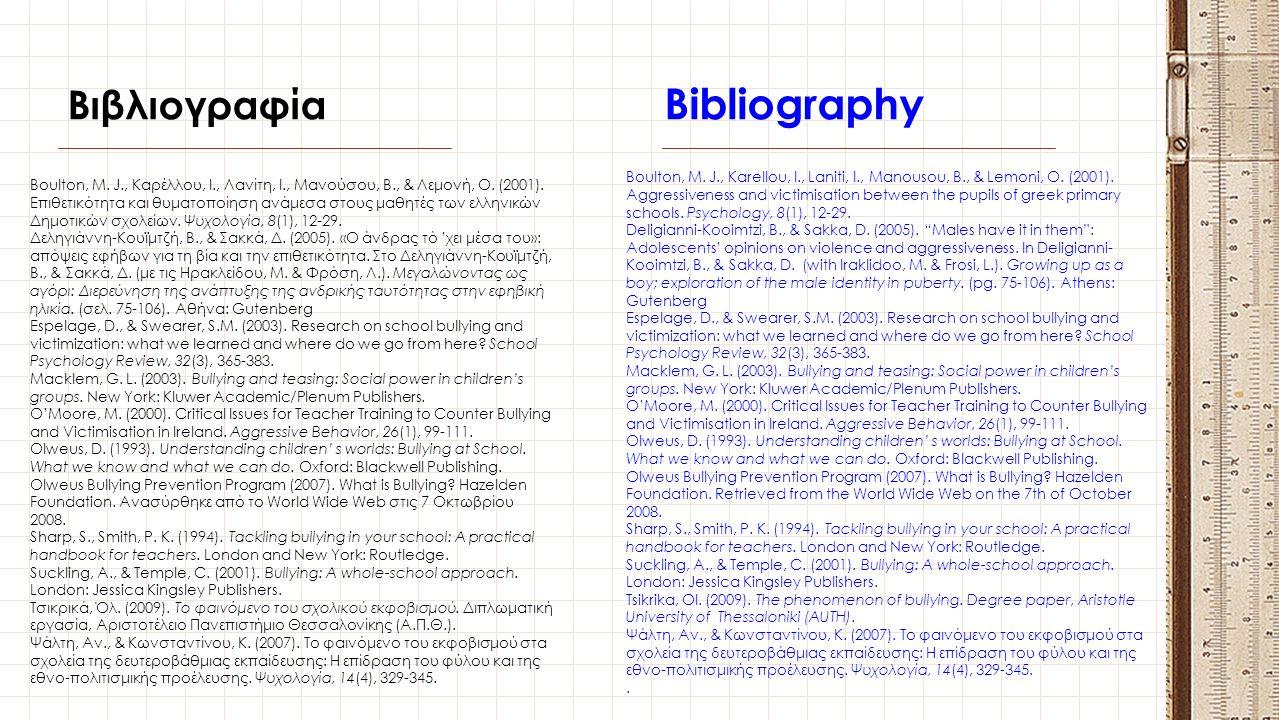 Bibliography Βιβλιογραφία
