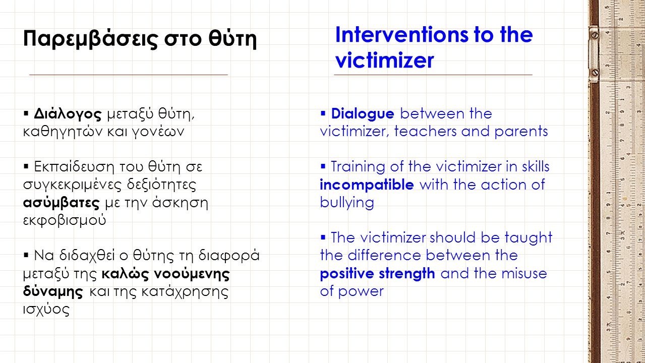 Interventions to the victimizer
