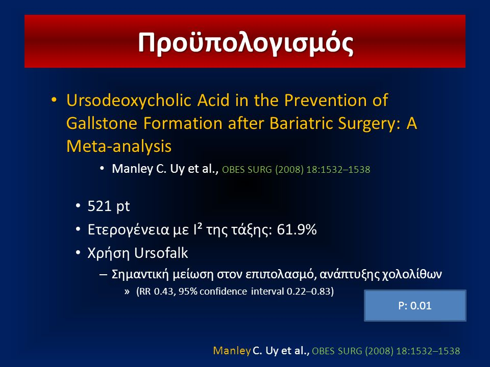 Προϋπολογισμός Ursodeoxycholic Acid in the Prevention of Gallstone Formation after Bariatric Surgery: A Meta-analysis.