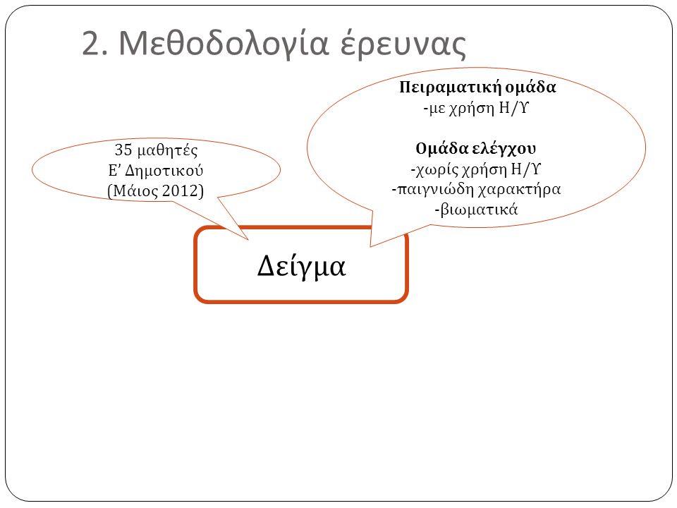 2. Μεθοδολογία έρευνας Δείγμα Πειραματική ομάδα -με χρήση Η/Υ