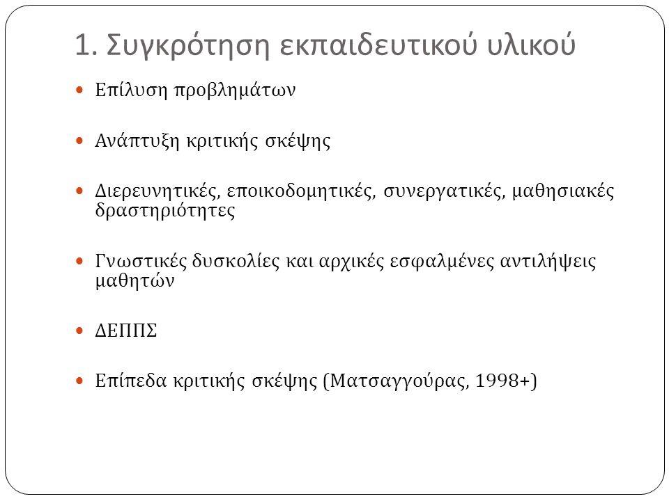 1. Συγκρότηση εκπαιδευτικού υλικού
