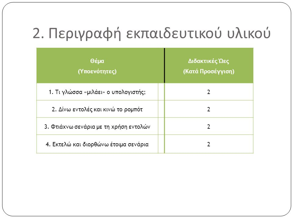 2. Περιγραφή εκπαιδευτικού υλικού