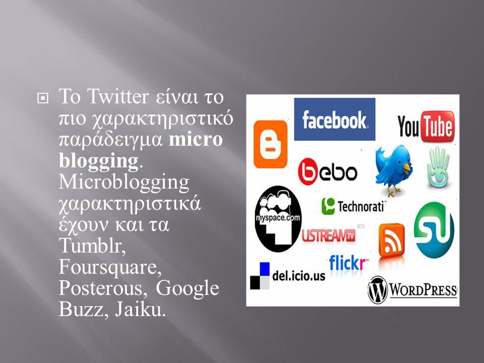 Το Twitter είναι το πιο χαρακτηριστικό παράδειγμα microblogging