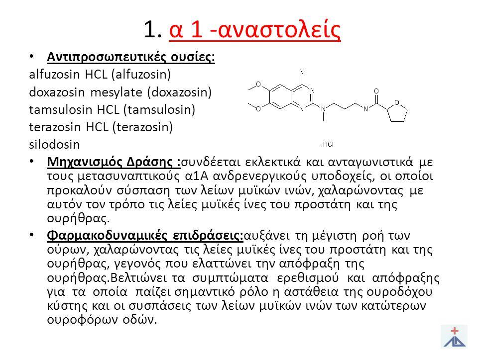1. α 1 -αναστολείς Αντιπροσωπευτικές ουσίες: alfuzosin HCL (alfuzosin)