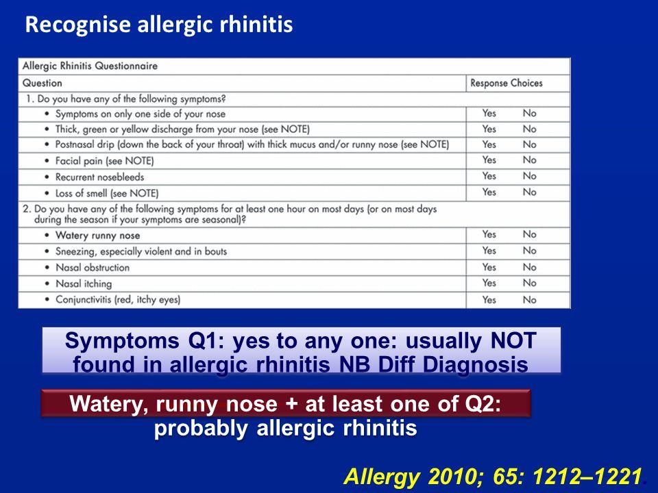 Recognise allergic rhinitis