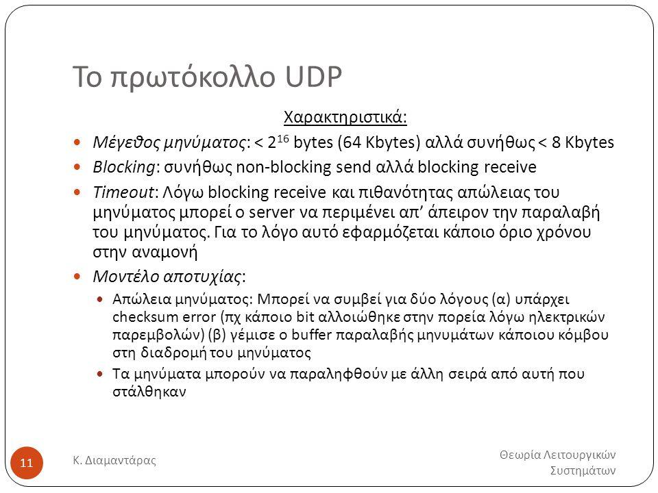 Το πρωτόκολλο UDP Χαρακτηριστικά: