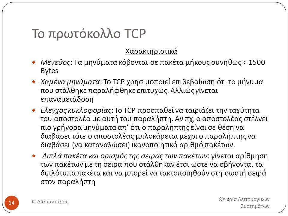 Το πρωτόκολλο TCP Χαρακτηριστικά