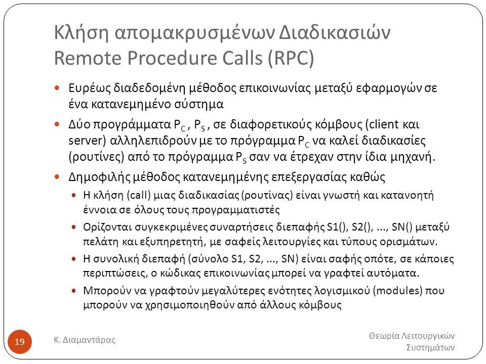Κλήση απομακρυσμένων Διαδικασιών Remote Procedure Calls (RPC)