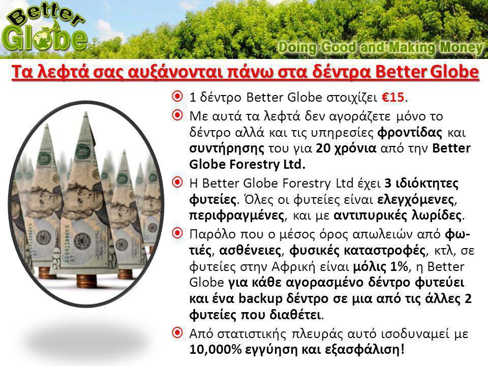 Τα λεφτά σας αυξάνονται πάνω στα δέντρα Better Globe
