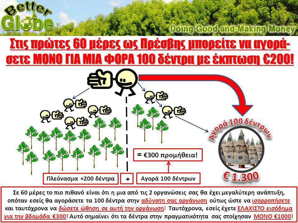 Στις πρώτες 60 μέρες ως Πρέσβης μπορείτε να αγορά-σετε ΜΟΝΟ ΓΙΑ ΜΙΑ ΦΟΡΑ 100 δέντρα με έκπτωση €200!