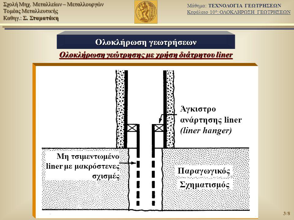 Ολοκλήρωση γεωτρήσεων Ολοκλήρωση γεώτρησης με χρήση διάτρητου liner