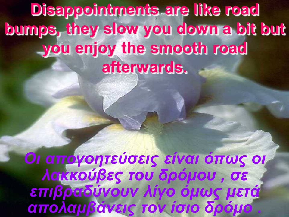 Disappointments are like road bumps, they slow you down a bit but you enjoy the smooth road afterwards.