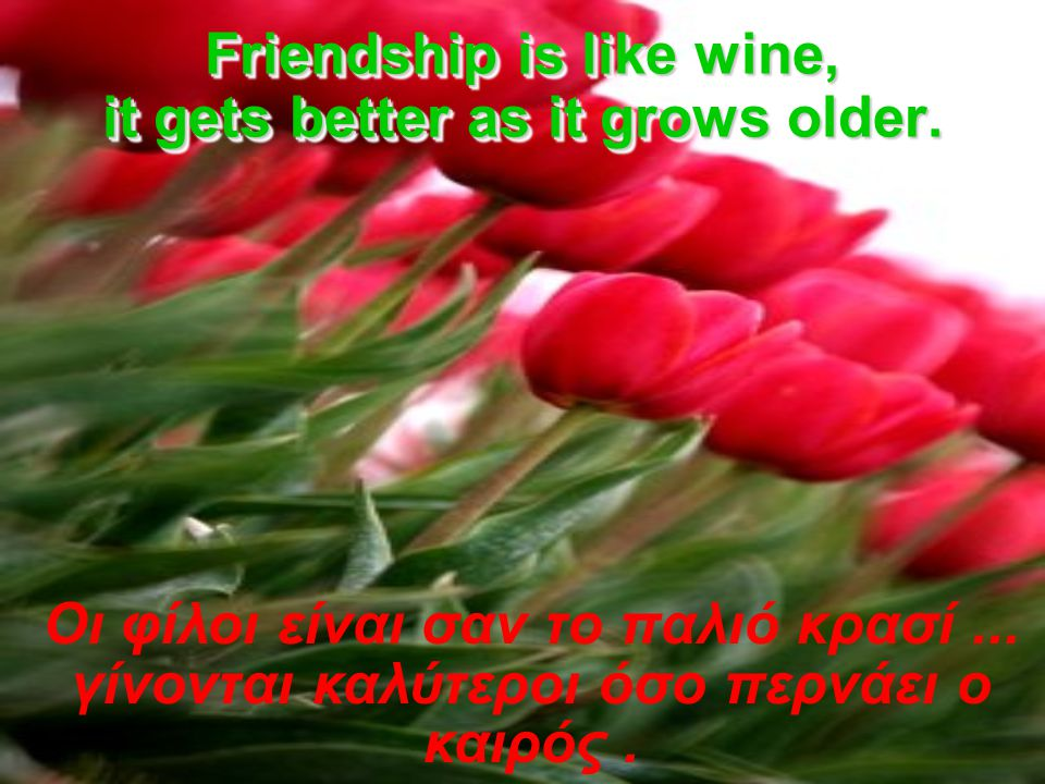 Friendship is like wine, it gets better as it grows older.