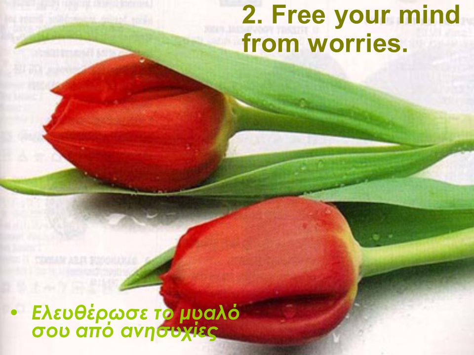2. Free your mind from worries.