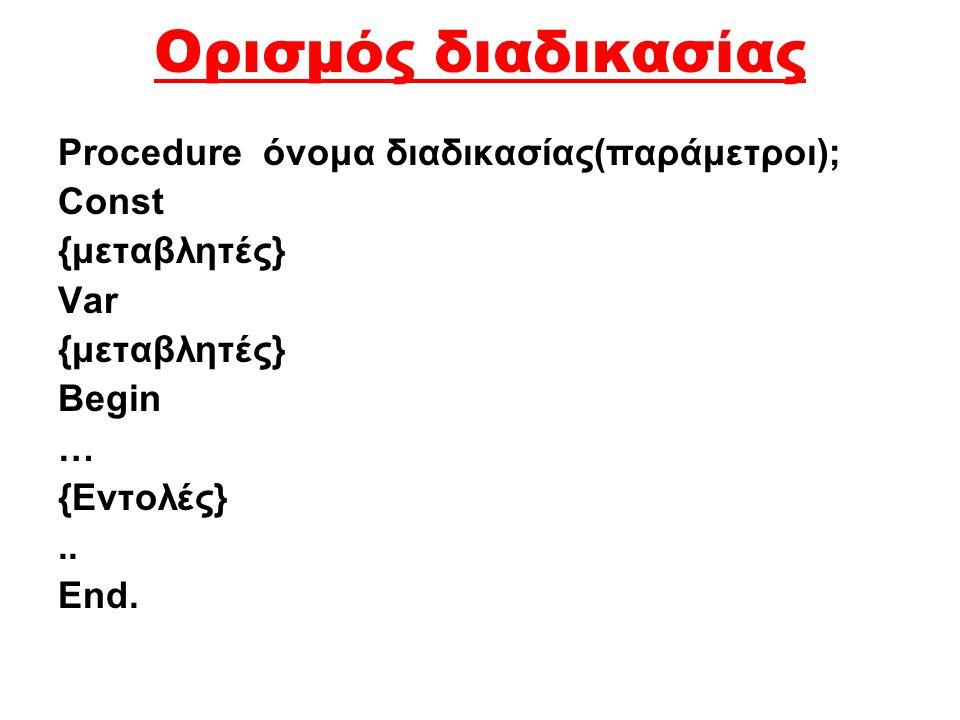 Ορισμός διαδικασίας Procedure όνομα διαδικασίας(παράμετροι); Const