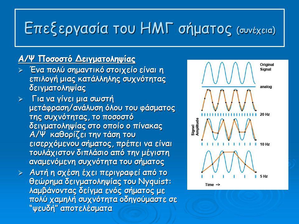 Επεξεργασία του ΗΜΓ σήματος (συνέχεια)