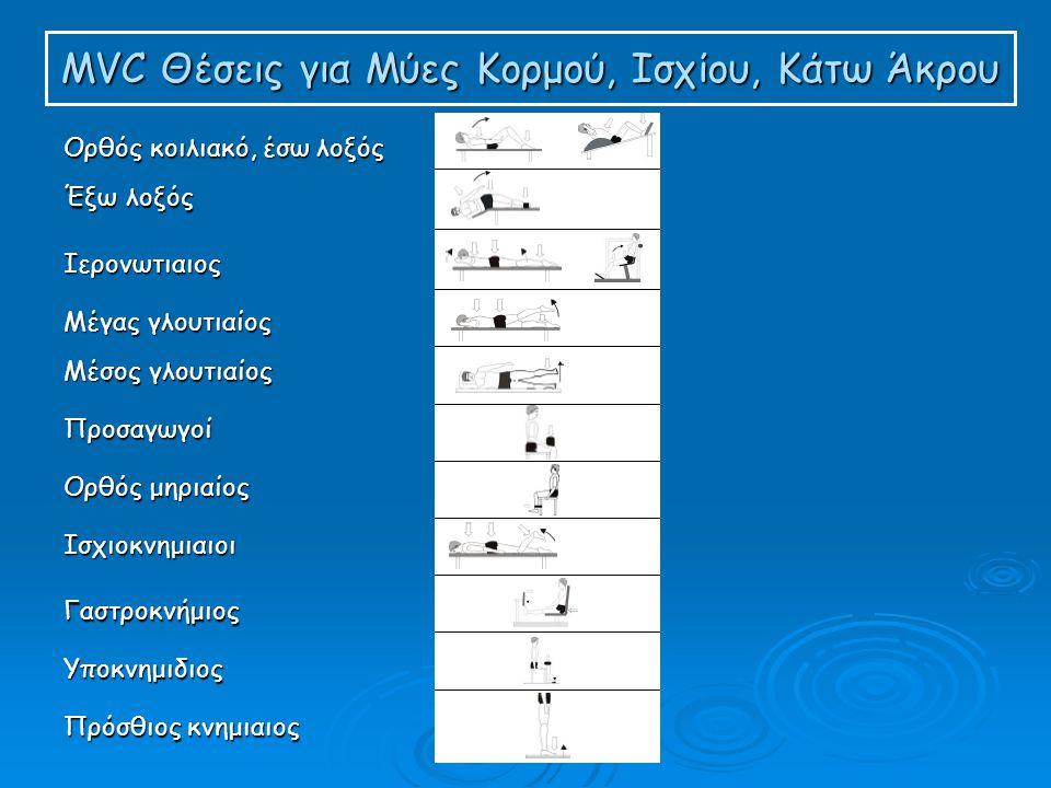 MVC Θέσεις για Μύες Κορμού, Ισχίου, Κάτω Άκρου