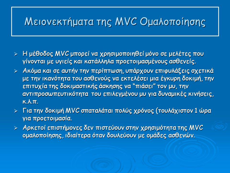 Μειονεκτήματα της MVC Ομαλοποίησης