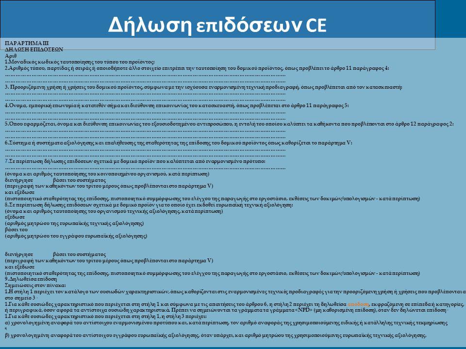Δήλωση επιδόσεων CE ΠΑΡΑΡΤΗΜΑ III ΔΗΛΩΣΗ ΕΠΙΔΟΣΕΩΝ Αριθ