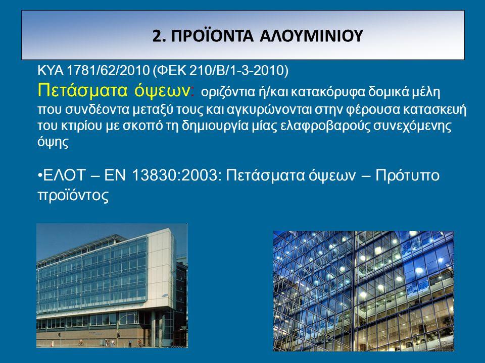 2. ΠΡΟΪΟΝΤΑ ΑΛΟΥΜΙΝΙΟΥ ΚΥΑ 1781/62/2010 (ΦΕΚ 210/Β/1-3-2010)