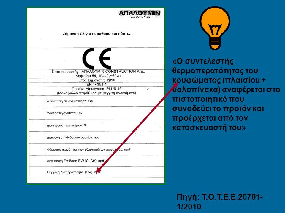«Ο συντελεστής θερμοπερατότητας του κουφώματος (πλαισίου + υαλοπίνακα) αναφέρεται στο πιστοποιητικό που συνοδεύει το προϊόν και προέρχεται από τον κατασκευαστή του»