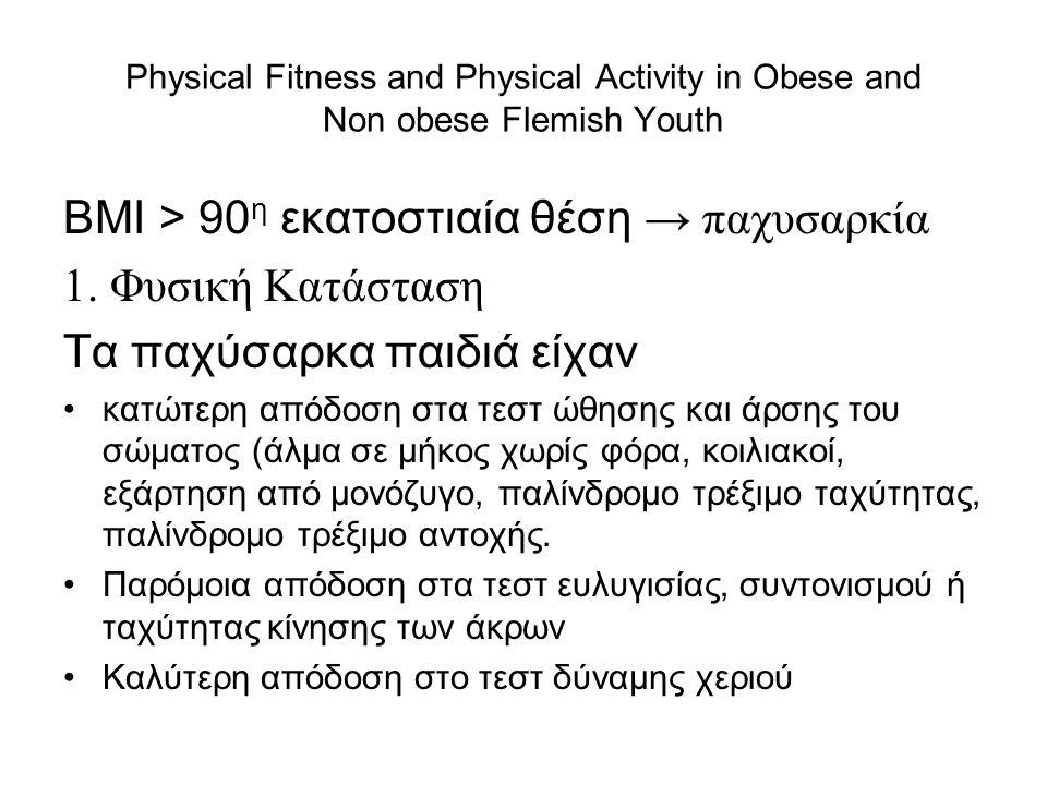 ΒΜΙ > 90η εκατοστιαία θέση → παχυσαρκία 1. Φυσική Κατάσταση