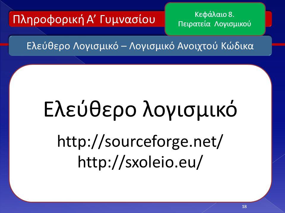 Ελεύθερο Λογισμικό – Λογισμικό Ανοιχτού Κώδικα