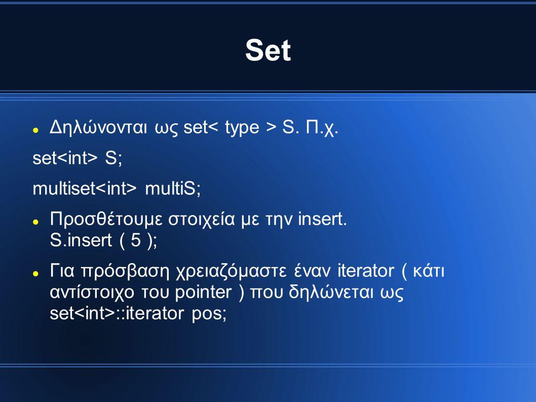 Set Δηλώνονται ως set< type > S. Π.χ. set<int> S;