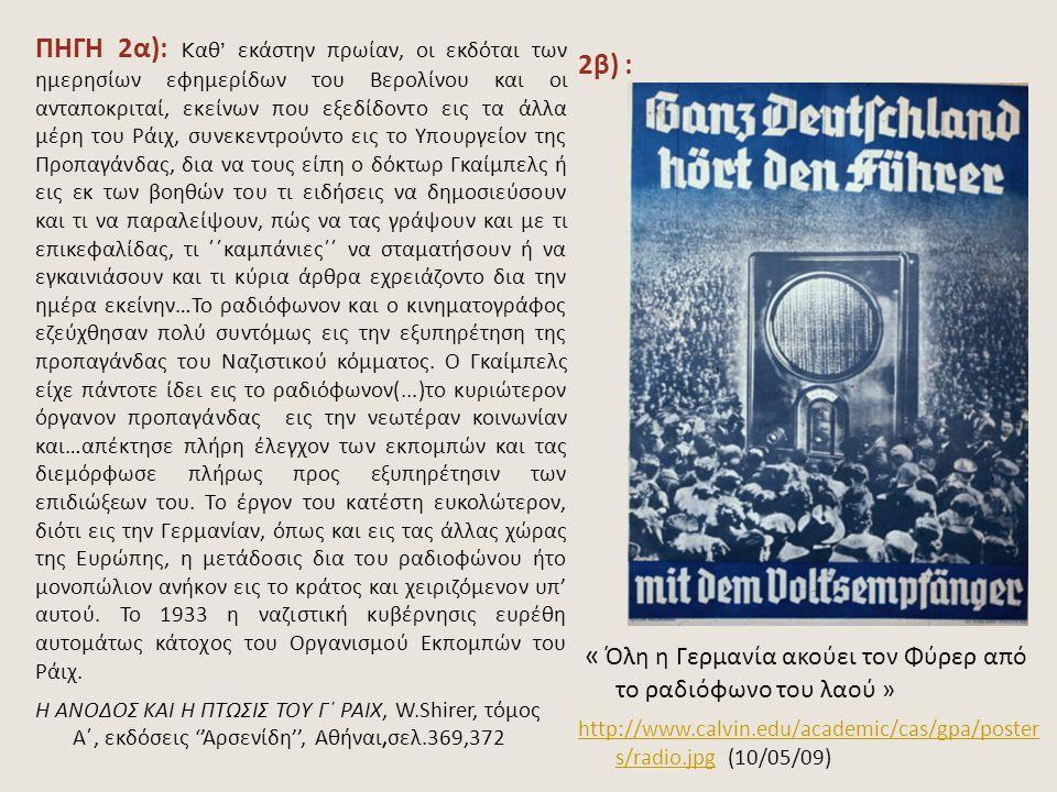 « Όλη η Γερμανία ακούει τον Φύρερ από το ραδιόφωνο του λαού »