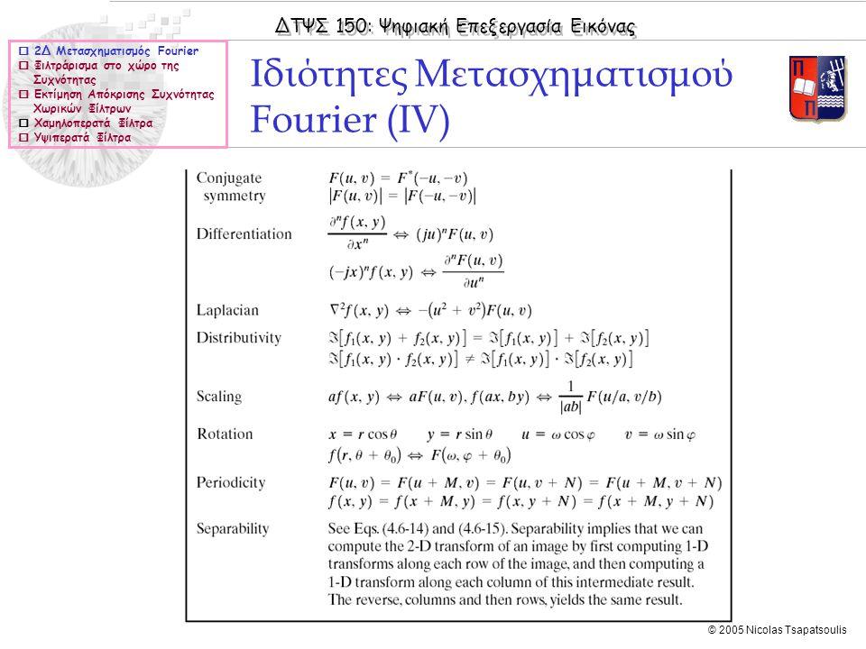 Ιδιότητες Μετασχηματισμού Fourier (ΙV)