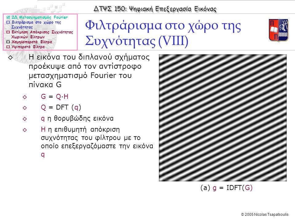 Φιλτράρισμα στο χώρο της Συχνότητας (VIII)
