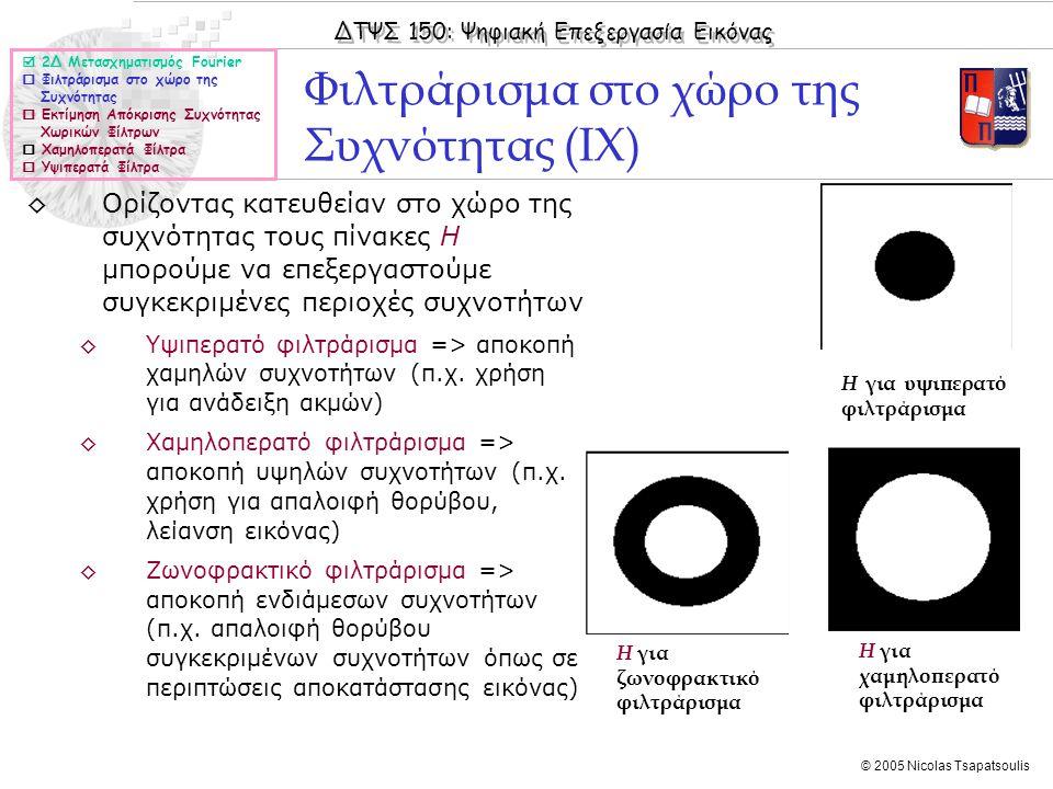 Φιλτράρισμα στο χώρο της Συχνότητας (IΧ)