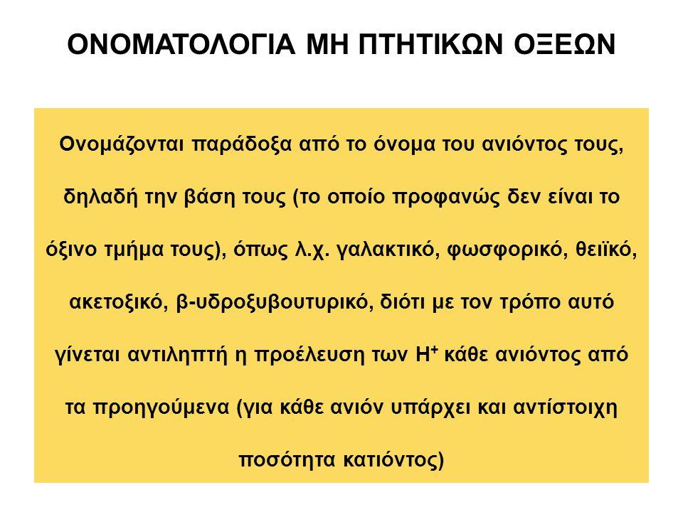 ΟΝΟΜΑΤΟΛΟΓΙΑ ΜΗ ΠΤΗΤΙΚΩΝ ΟΞΕΩΝ