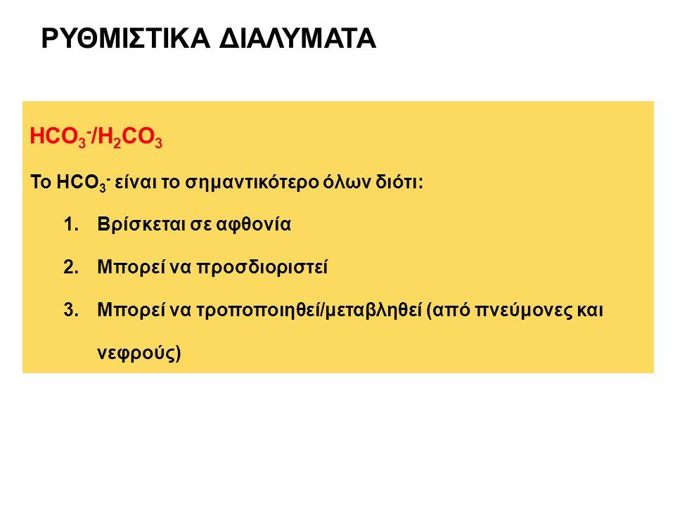 ΡΥΘΜΙΣΤΙΚΑ ΔΙΑΛΥΜΑΤΑ HCO3-/H2CO3