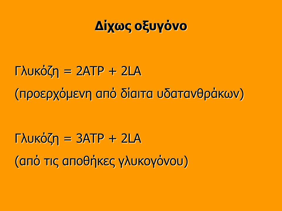 Δίχως οξυγόνο Γλυκόζη = 2ATP + 2LA. (προερχόμενη από δίαιτα υδατανθράκων) Γλυκόζη = 3ATP + 2LA.