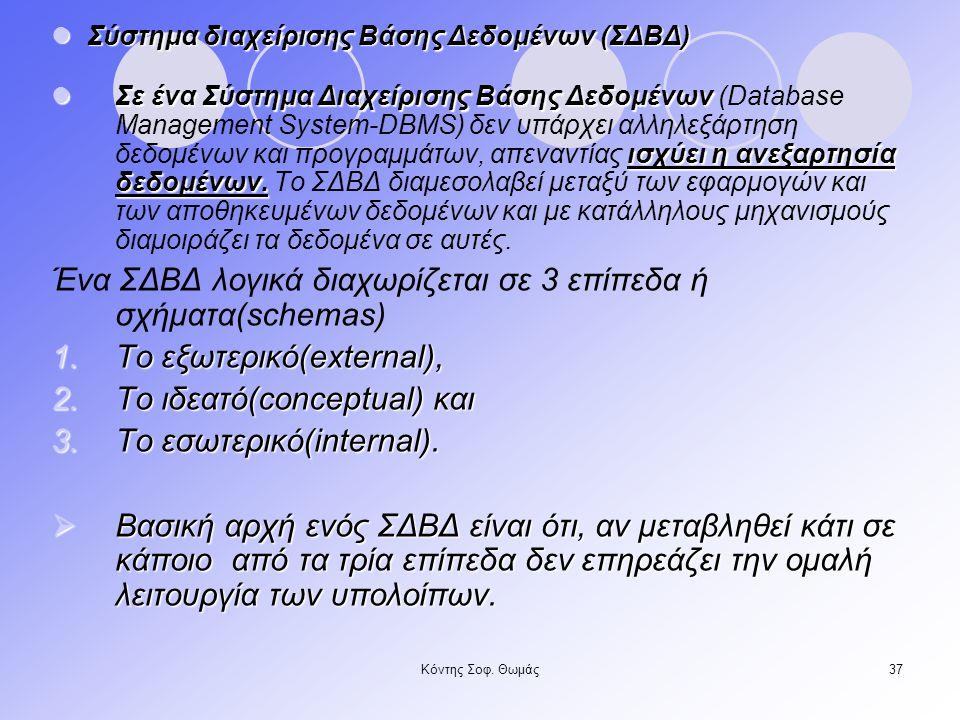 Ένα ΣΔΒΔ λογικά διαχωρίζεται σε 3 επίπεδα ή σχήματα(schemas)