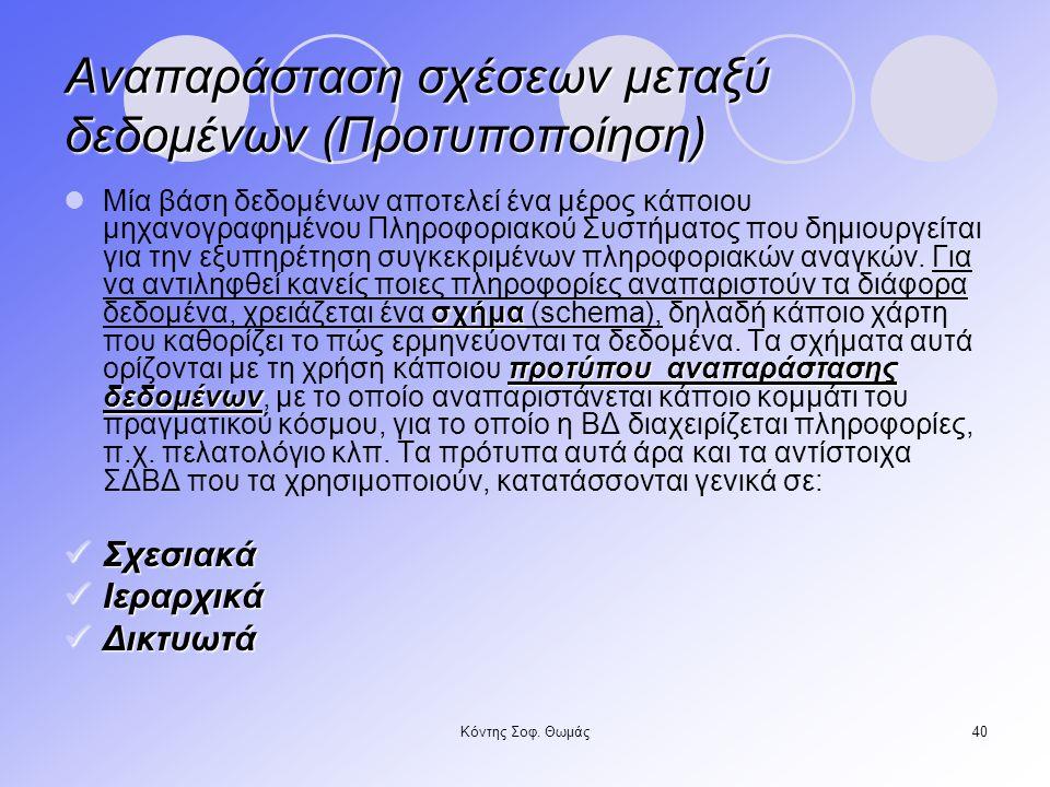 Αναπαράσταση σχέσεων μεταξύ δεδομένων (Προτυποποίηση)