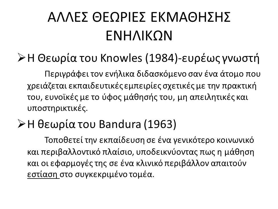 ΑΛΛΕΣ ΘΕΩΡΙΕΣ ΕΚΜΑΘΗΣΗΣ ΕΝΗΛΙΚΩΝ