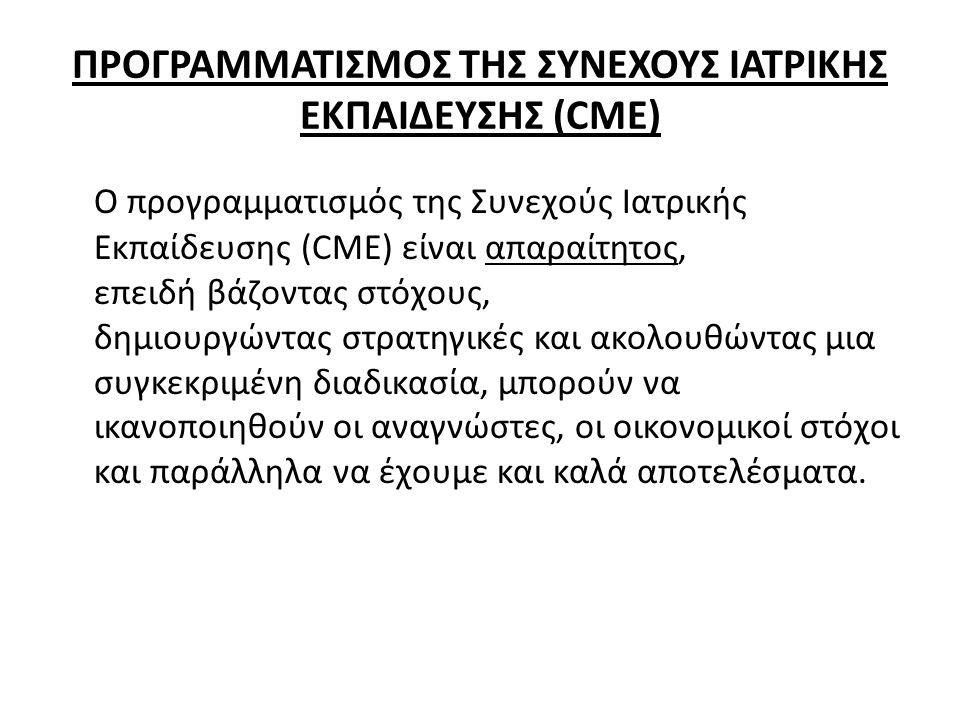ΠΡΟΓΡΑΜΜΑΤΙΣΜΟΣ ΤΗΣ ΣΥΝΕΧΟΥΣ ΙΑΤΡΙΚΗΣ ΕΚΠΑΙΔΕΥΣΗΣ (CME)