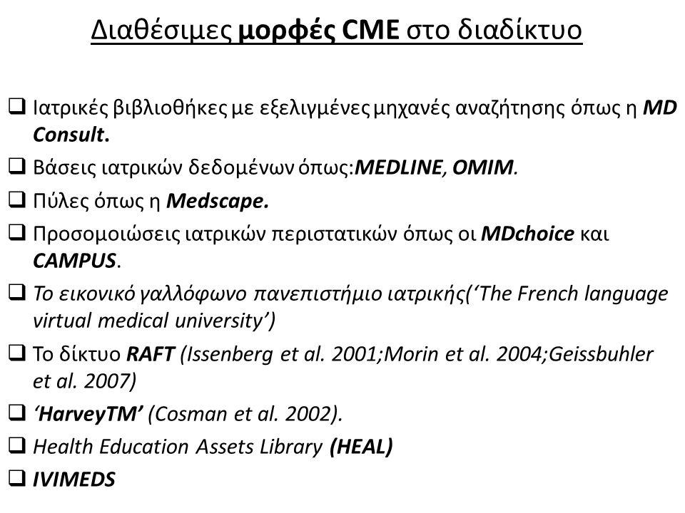 Διαθέσιμες μορφές CME στο διαδίκτυο