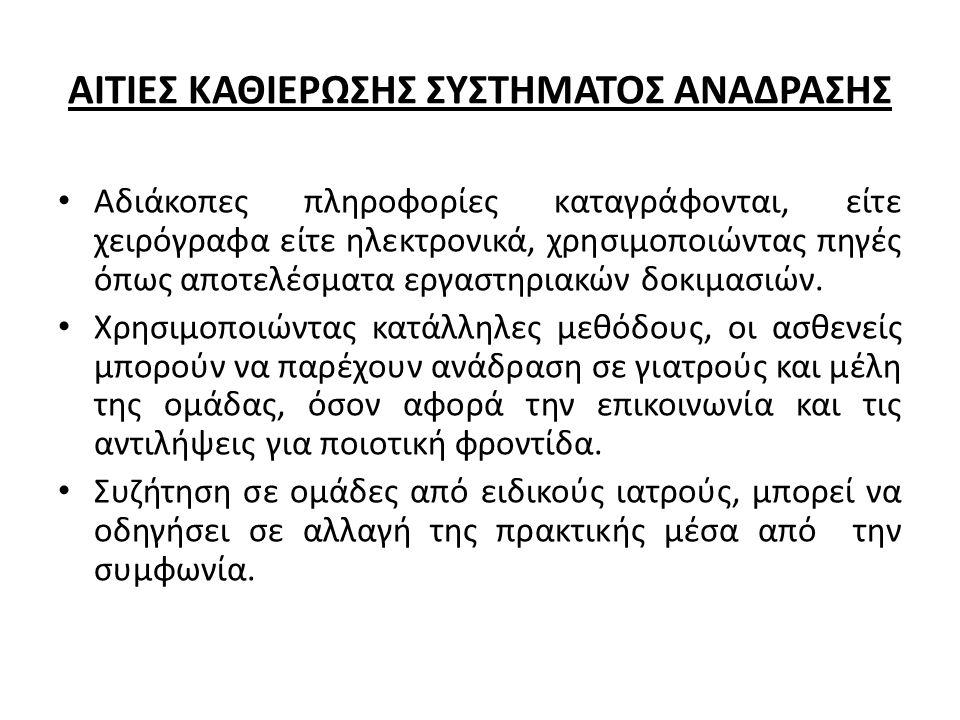 ΑΙΤΙΕΣ ΚΑΘΙΕΡΩΣΗΣ ΣΥΣΤΗΜΑΤΟΣ ΑΝΑΔΡΑΣΗΣ