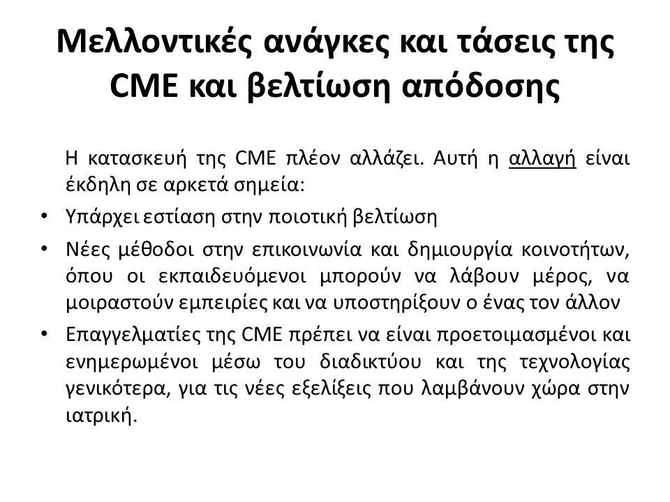 Μελλοντικές ανάγκες και τάσεις της CME και βελτίωση απόδοσης