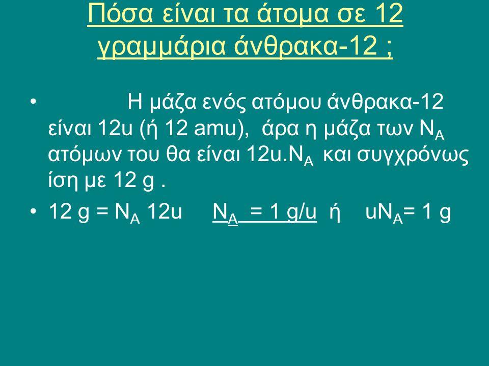 Πόσα είναι τα άτομα σε 12 γραμμάρια άνθρακα-12 ;