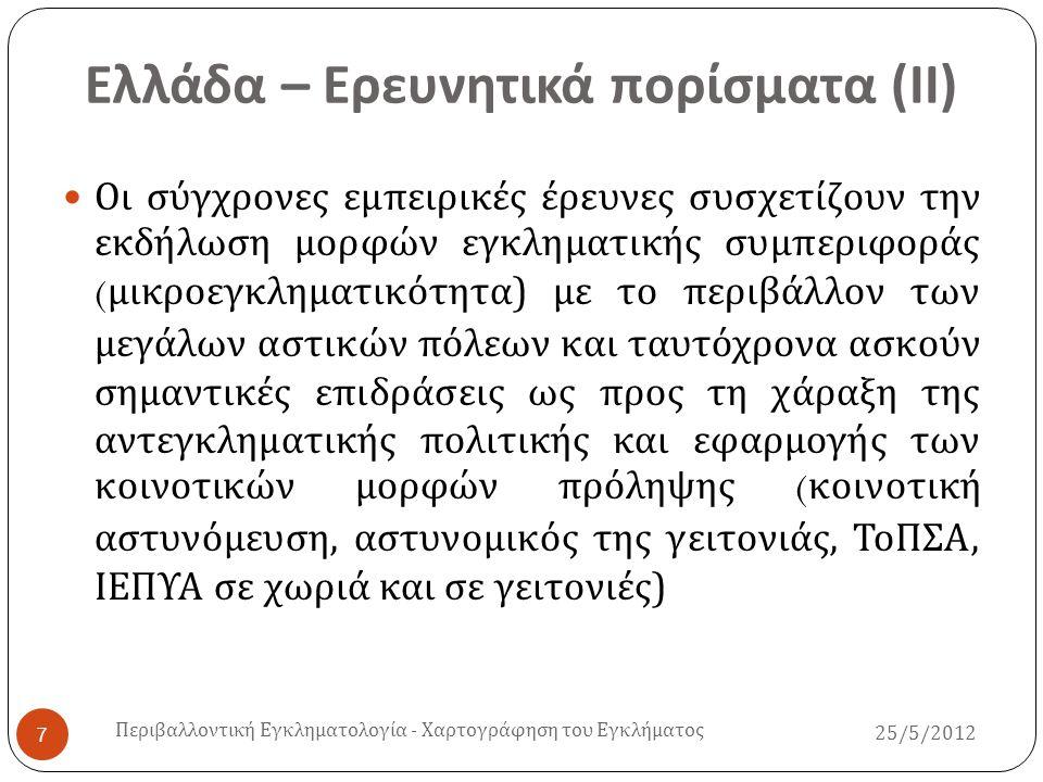 Ελλάδα – Ερευνητικά πορίσματα (ΙΙ)
