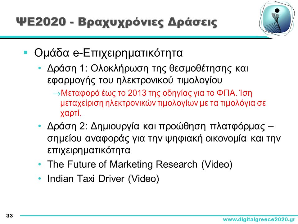 ΨΕ2020 - Βραχυχρόνιες Δράσεις