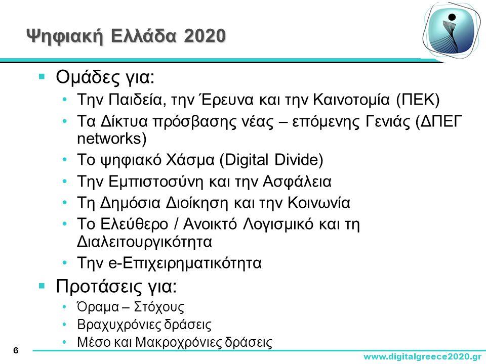 Ψηφιακή Ελλάδα 2020 Ομάδες για: Προτάσεις για: